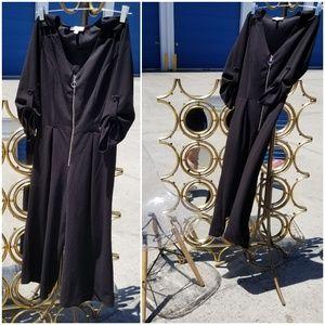 Dressy Monteau Black Pant Suit Romper